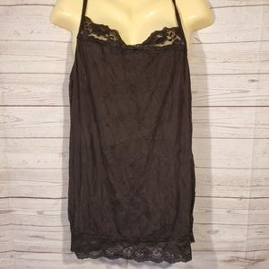 Maurices Plus Size Black Lace Trim Tank Top